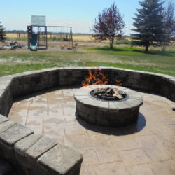 Gas Fire Pit with Retaining Wall