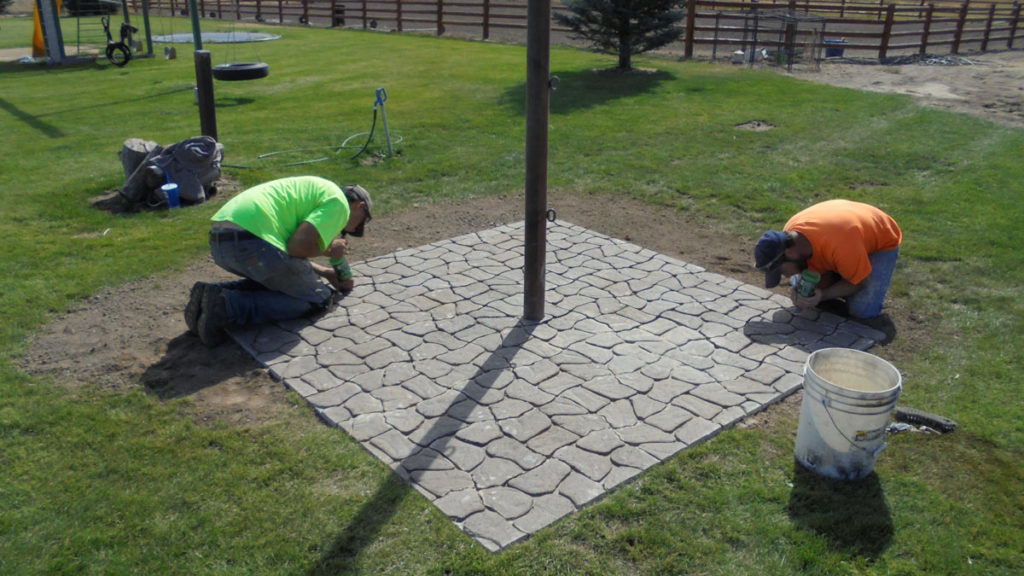 Working hard on pavers and patterns